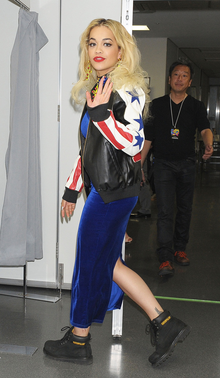 Rita Ora wears black Cat Colorado boots