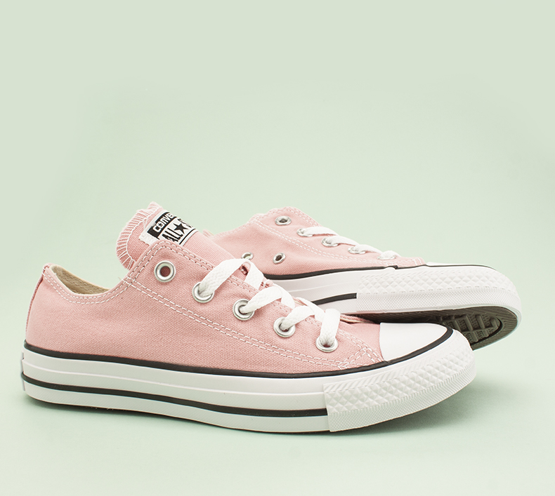 womens converse all star light pink trainers at schuh with white and black striped sole