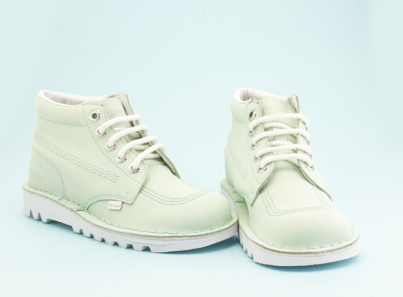 womens kickers kick hi boots in light green nubuck with white soles
