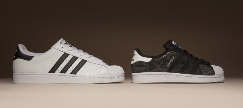 men's white and black adidas superstar trainers, women's black superstar trainers