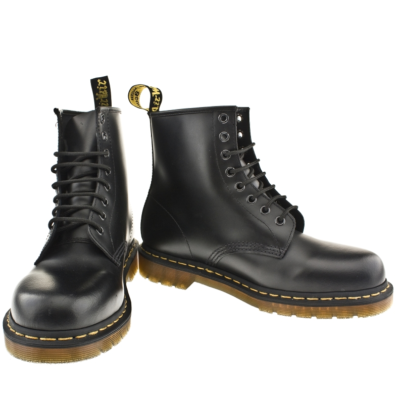 mens dr martens 1460 boots in black with airwair sole