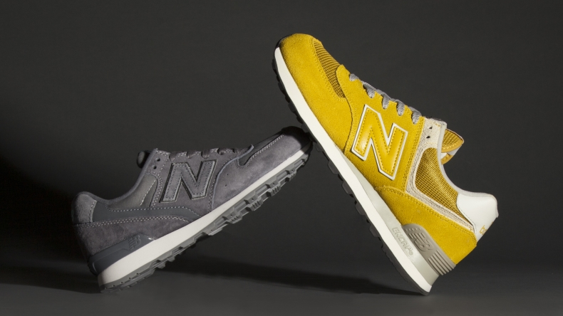 grey and yellow new balance running shoes