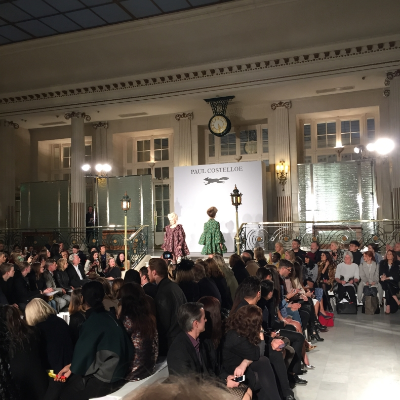 Paul Costelloe at LFW 2015 model wearing green tweed
