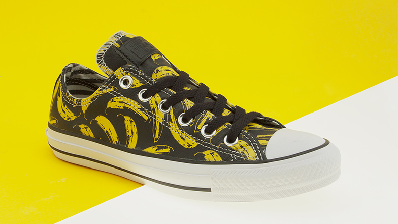 converse all star warhol banana oxford trainers for women and men leather with rubber toe cap