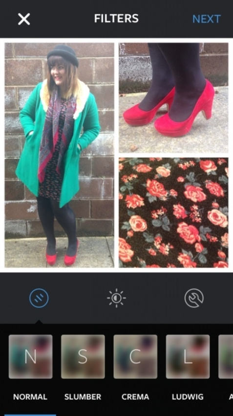 amy at schuh with green jacket, floral print and bright pink high heel shoes