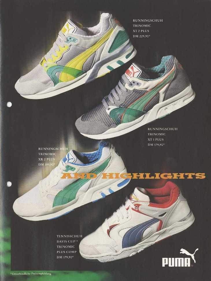 6f2f779bb08 Retro PUMA advertisement from 1990 featuring PUMAs iconic Trinomic R698 mens  trainers in multi-colours