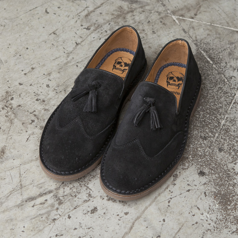 Black suede loafers with tassel and brogue detailing - schuh.