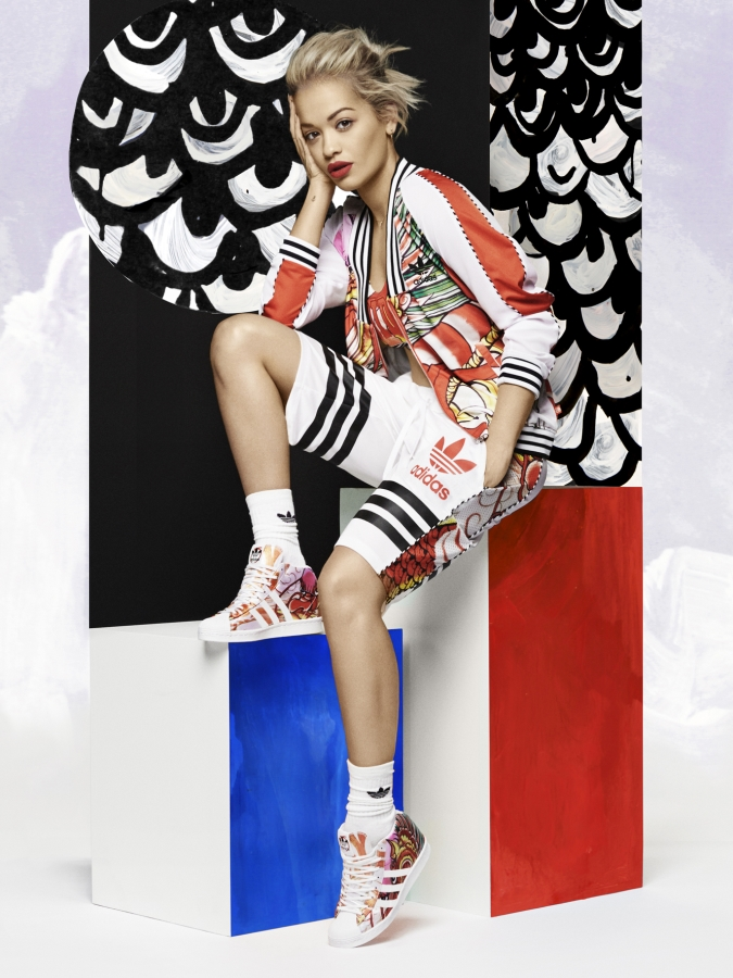rita ora wearing trainers and basketball inspired clothes from her adidas originals dragon pack