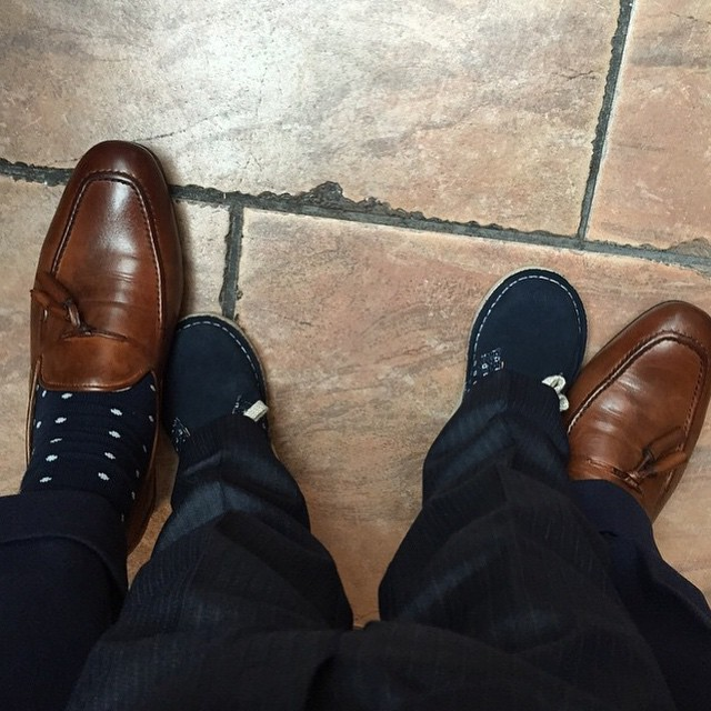 mens-tan-leather-hudson-rene-tassel-loafers-and-kids-suede-clarks-originals-desert-boots-in-navy-and-white