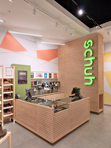 schuh store's interior made from sustainable materials