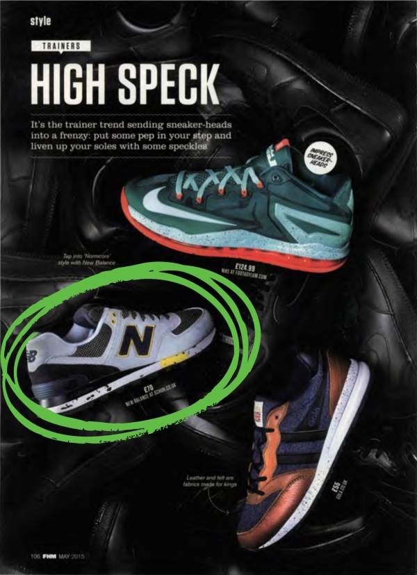 mens New Balance 574 90s Outdoor trainers in grey and black suede in FHM Magazine