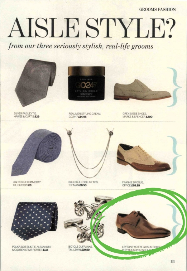 mens H by Hudson tan leather Leyton 2 Eye Gibson formal shoes features in Perfect Wedding Magazine
