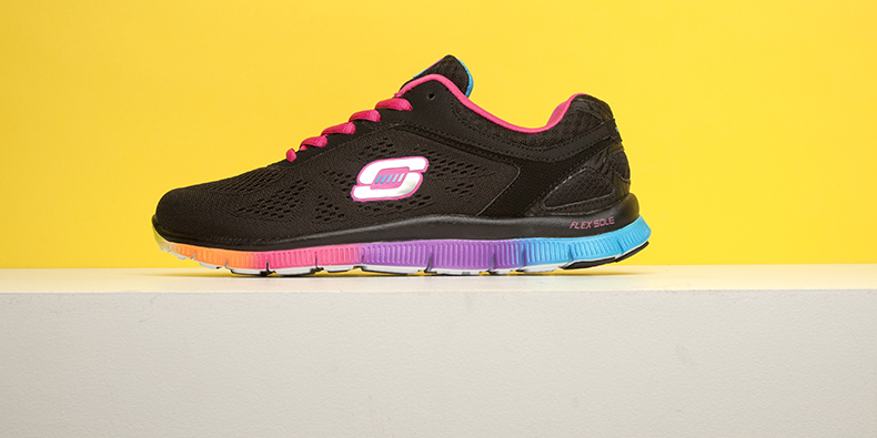 womens black and multi-coloured Flex appeal Style trainers from Skechers