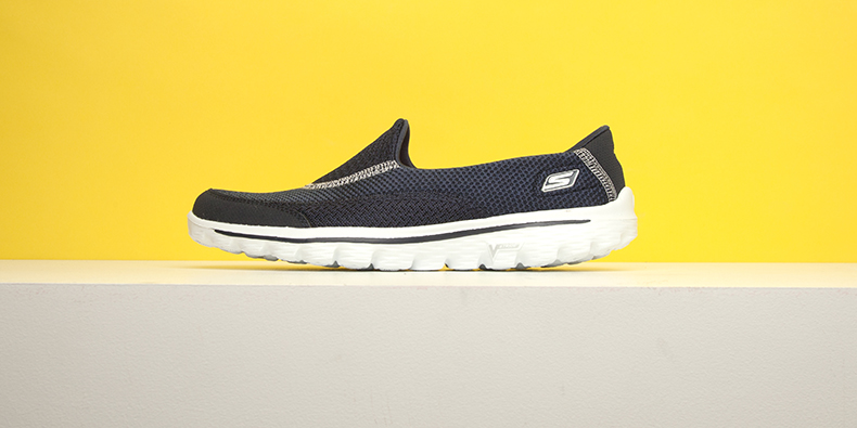 womens navy and white fabric GO walk 2 trainers from Skechers