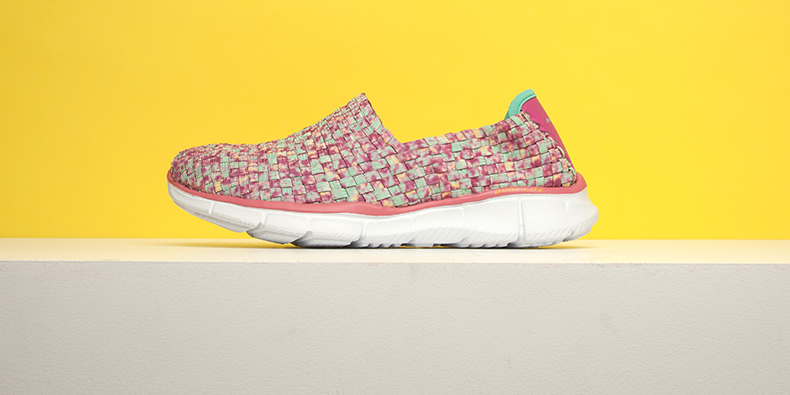 womens pale pink white and mint green Equalizer Vivid Dream slip on style shoes from Skechers with woven marbelized upper