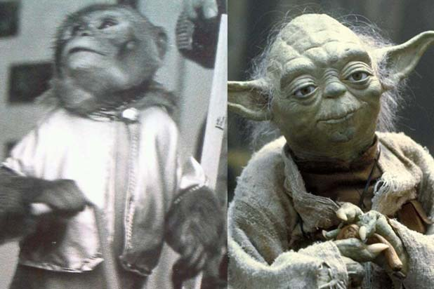 image of monkey that was originally cast to play Yoda in the Star Wars movies holding a cane and an image of Yoda himself in black and white