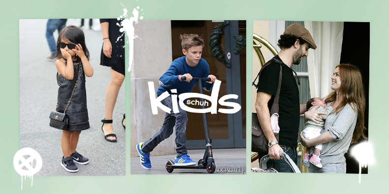 schuh blog image of Aila Wang Romeo Beckham and Olive wearing Nike adidas and Converse trainers
