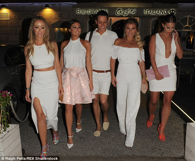 lauren pope wearing schuh Secret high heels and white outfit going out for dinner with towie cast members in marbella