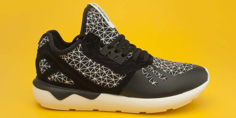 men's black and white adidas tubular runner trainers