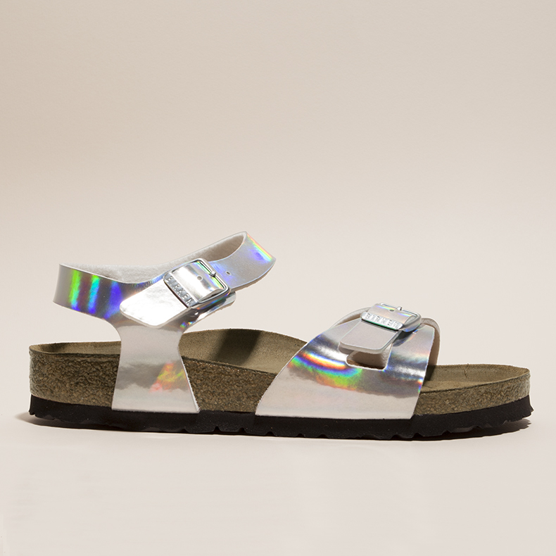 womens rio mirror sandals with man-made silver holographic upper  with buckles and cork EVA midsole