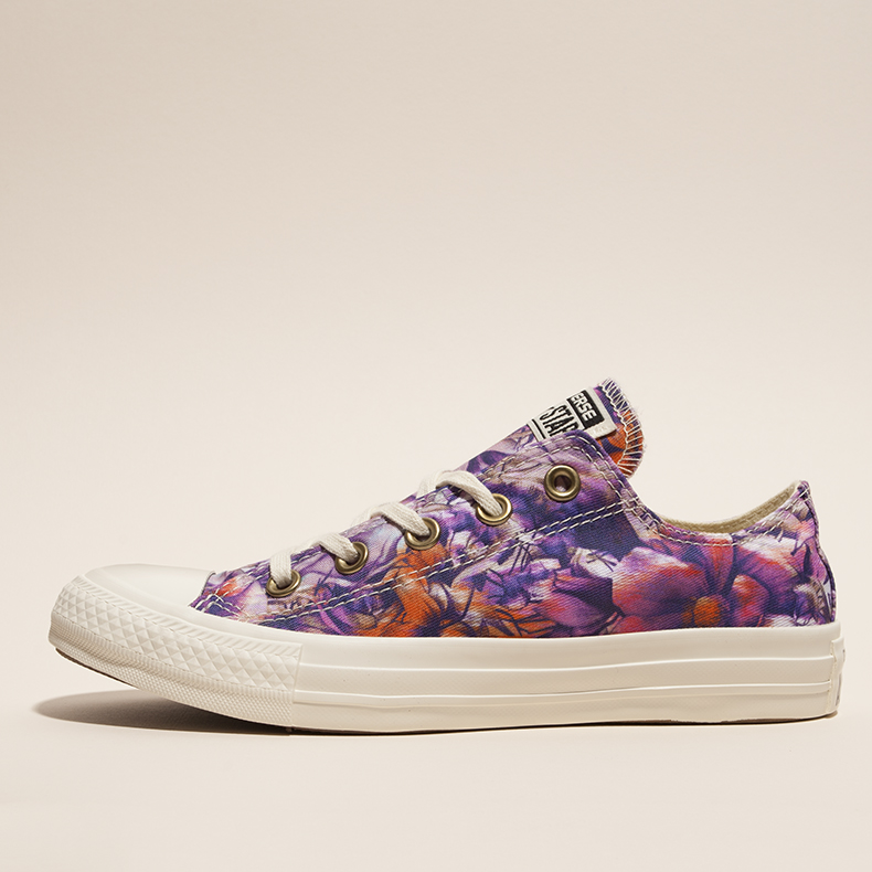 womens purple and multi-coloured fabric all star floral print oxford plimsolls