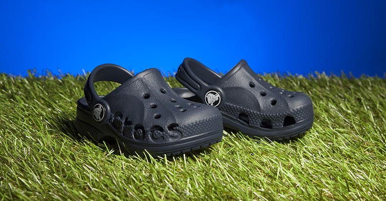 boys and girls navy man-made crocs baya sandals in navy blur with perforated hole detail