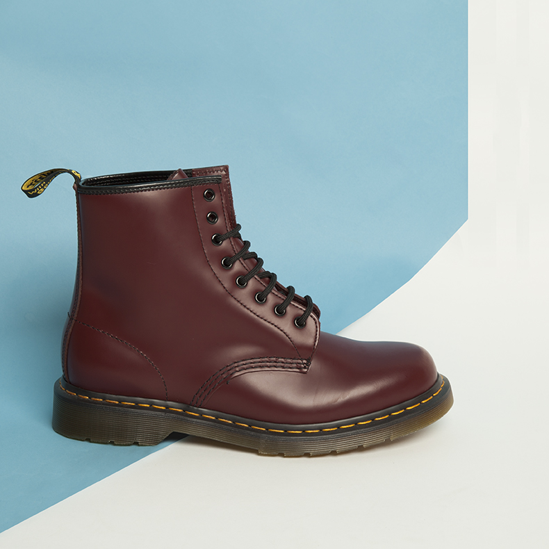 dr martens classic 8 tie boots in brown leather with yellow stitch detail and AirWair sole unit
