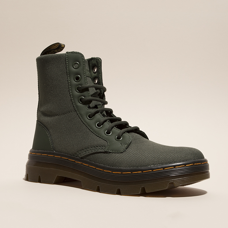 womens dr martens tract combs fold down boots in khaki fabric with AirWair rubber sole unit