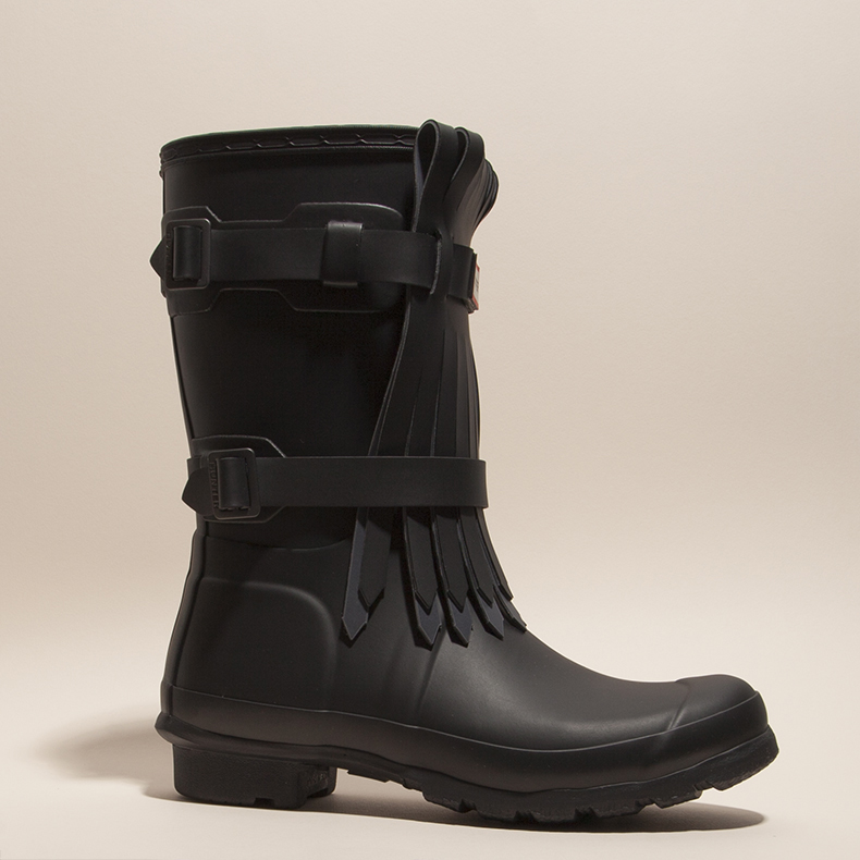 womens black rubber original short Hunter wellies with fringe detail and red and white branding