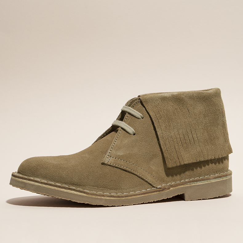 womens dark horse suede shoes in beige with fringe detail and rubber sole unit