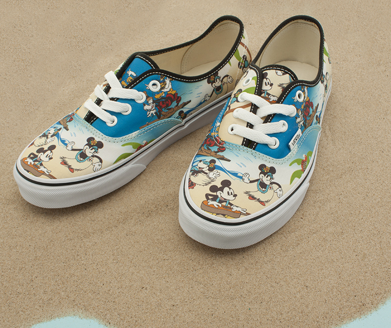 a1001c4599e505 vans authentic plimsolls from the Disney ranger with hawaii print of mickey  mouse and goofy surfing