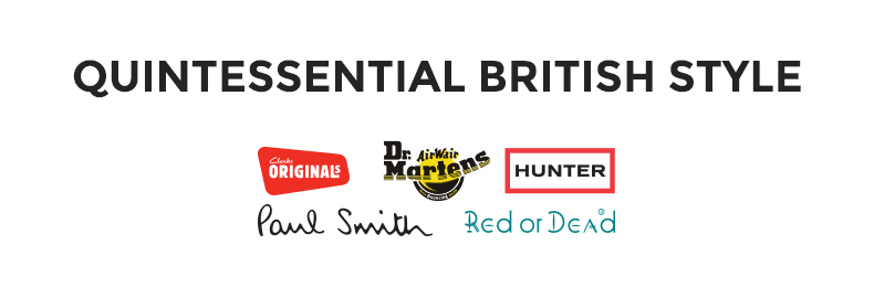 quintessential british brands image including hunter clarks originals and dr martens logos