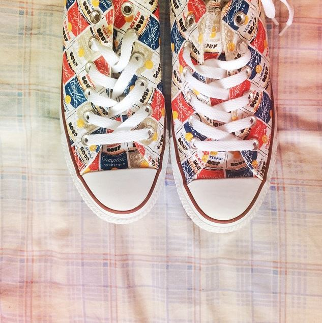 white and red converse all star warhol print
