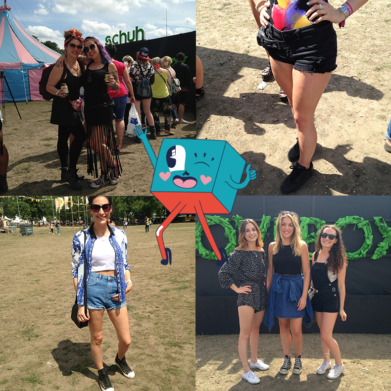 collage of girls festival style at londons lovebox festival 2015 wearing converse