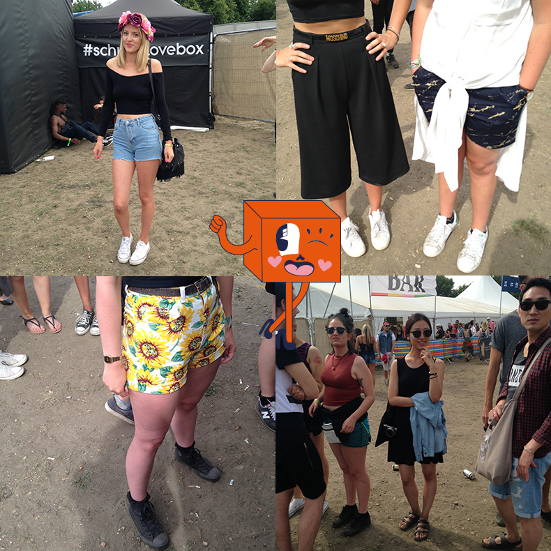 collage of girls festival style at londons lovebox festival 2015 wearing converse birkenstock and adidas