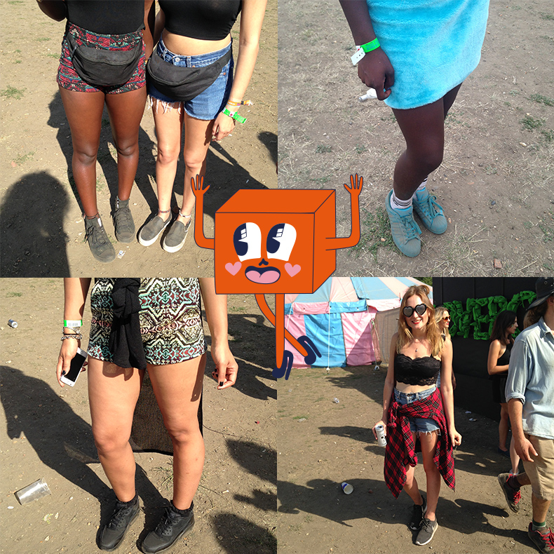 collage of girls festival style at londons lovebox festival 2015 wearing converse vans adidas and nike trainers