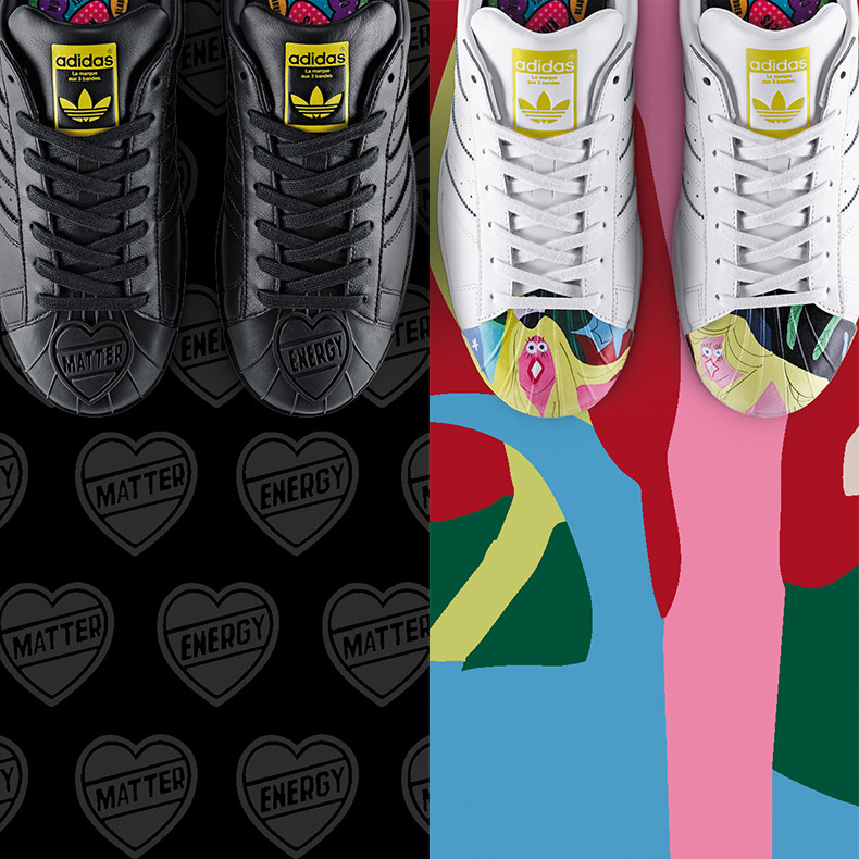 mens black pharrell superstar supershell  trainers and white leather superstar supershell todd james trainers with painting of girl with blonde hair