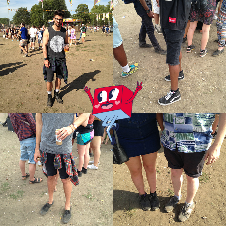 collage of boys festival style at londons lovebox festival 2015 wearing dr martens boots and vans trainers