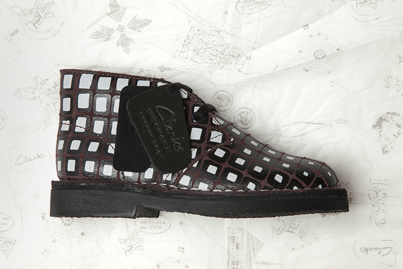 girls and boys unisex clarks originals desert boot v&a in black white and brown print from collaboration