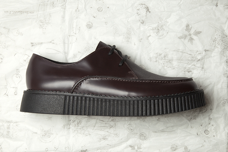 mens burgundy leather rockn lo shoes teddy boy shoes from clarks originals and v&a collaboration