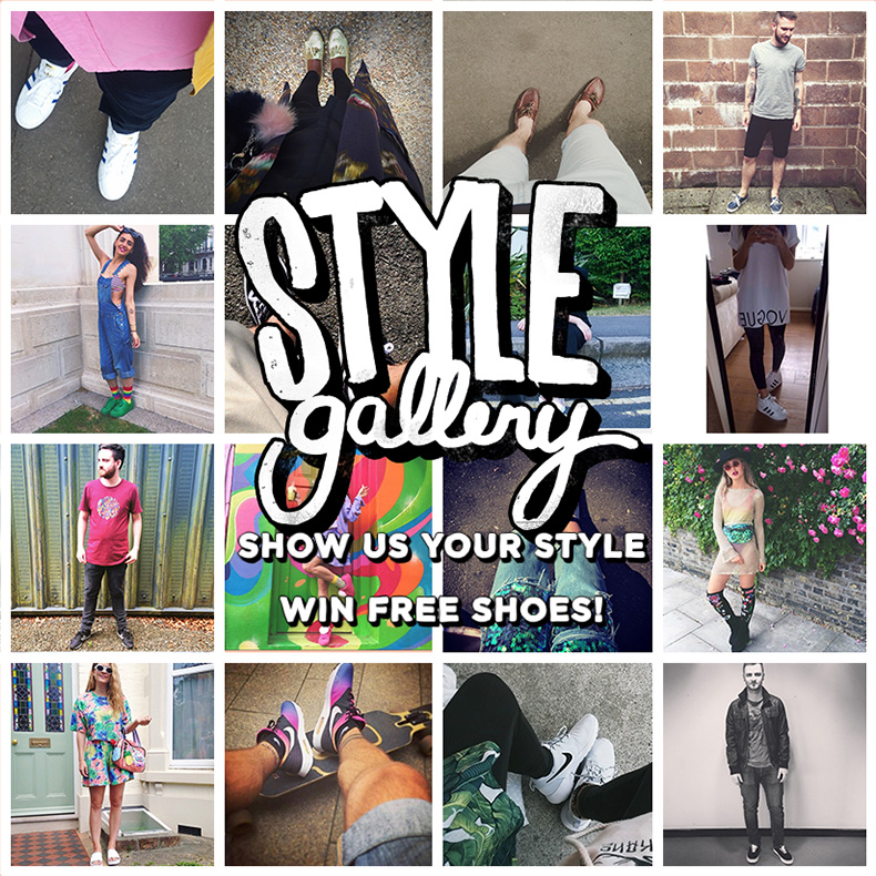 schuh style gallery header featuring images of customers in shoes with styled outfits