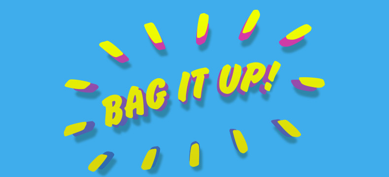 bag it up we sell bags at schuh blog header in blue yellow and pink