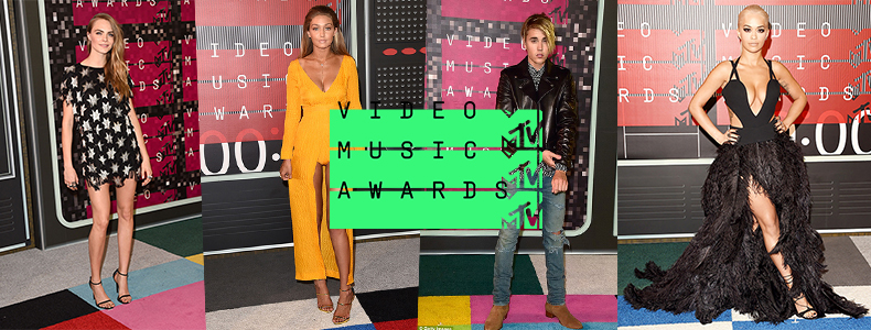 schuh blog header for vma 2015 mtv music awards featuring Rita Ora, Cara Delevingne, Justin Bieber and Gigi Hadid