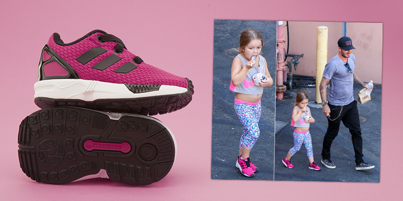 pink fabric adidas zx flux trainers with black stripes worn by harper beckham with david beckham walking