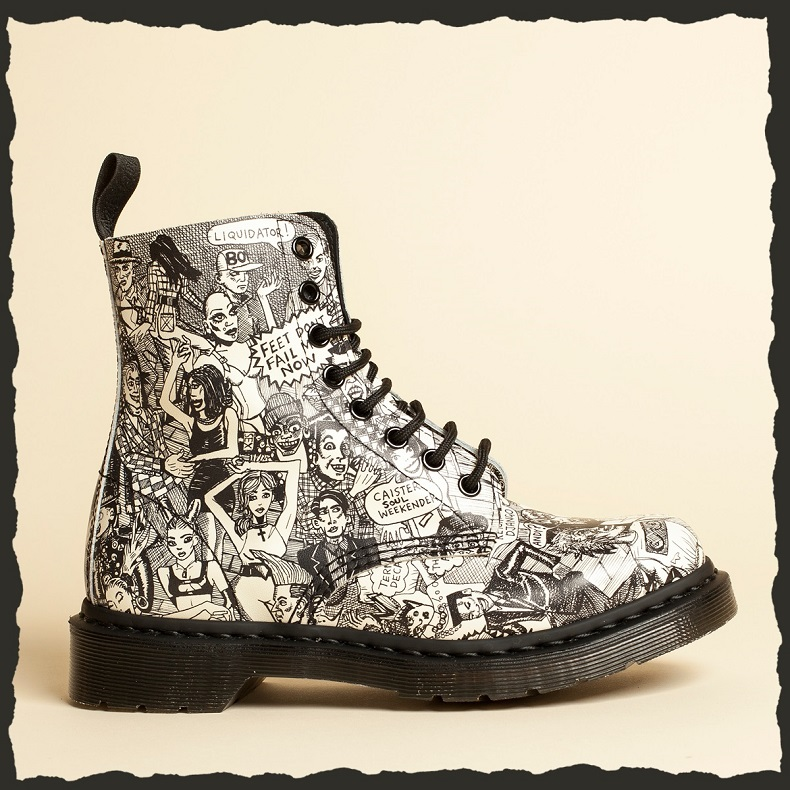 dr martens mark wigan collaboration party people black and white cartoon illustration boot