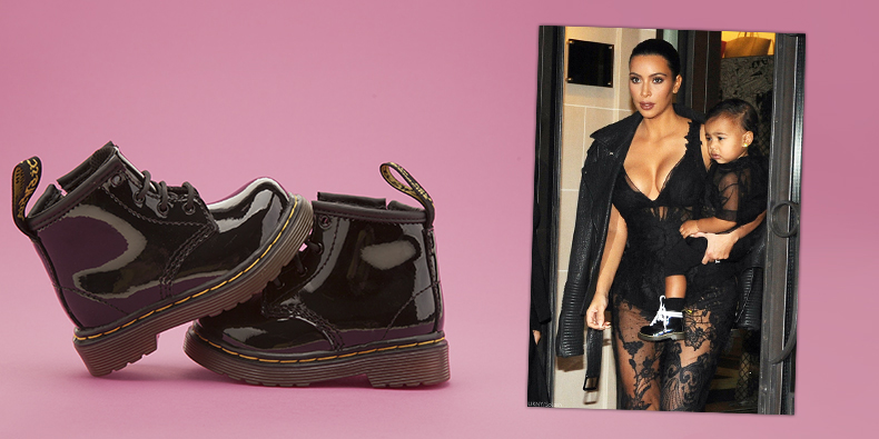 north west wearing dr martens brooklee black leather patent boots held by kim kardashian