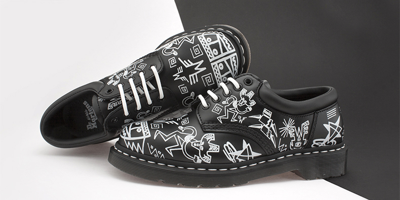 mens black and white leather core print 8053 shoes from the Mark Wigan collaboration