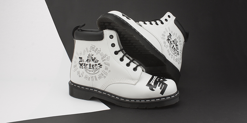 mens black and white leather padded collar 6 eye Dr Martens boots form Mark Wigan collaboration