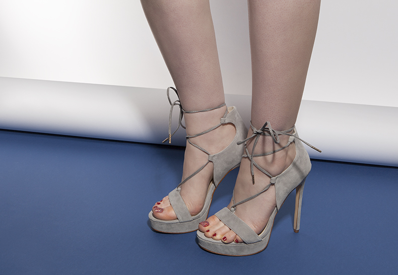 womens lace up heels in grey suede from schuh worn on model with bare legs