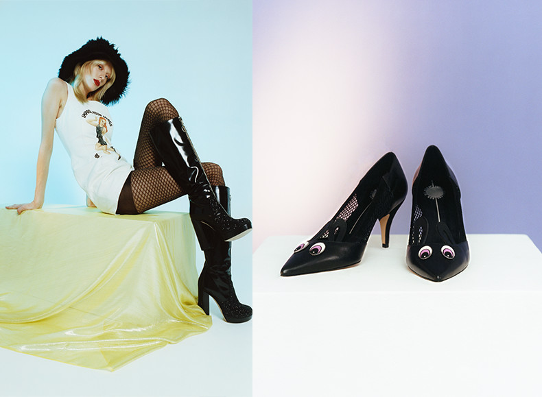 ashley williams x red or dead womens shoes featuring black leather and glitter claudia boots and olivia kitten heels in black leather with animal eyes